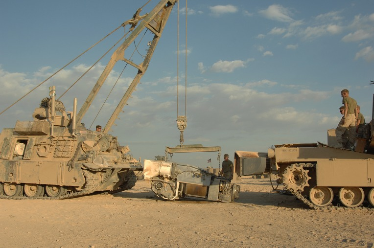 USMC_M88A2_from_the_2nd_Tank_BN_prepares_to_reinstall_the_AGT1500_into_a_M1A1_at_Combat_Outpost_Shir_Gazay_in_Helmand_Province%2C_Afghanistan_1.jpg
